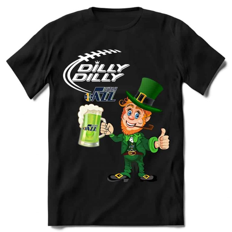 Utah Jazz T shirt Fans Dilly Dilly St Patricks Day Cheerful Leprechaun With Mug of Green Beer