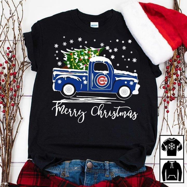 Chicago Cubs Truck Merry Christmas - Gift for Fans T-Shirt