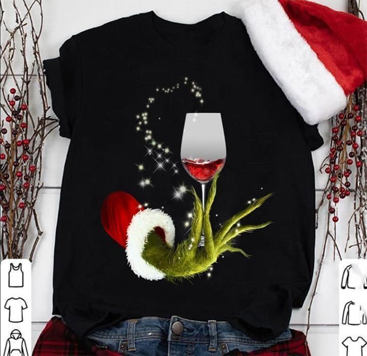 Christmas Grinch With Wine Glass Christmas Gift - Gift for Fans T-Shirt