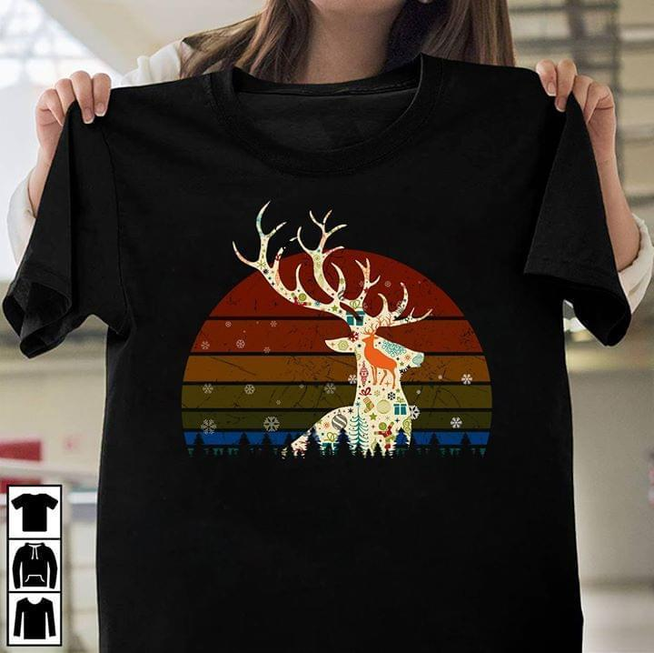 Christmas Reindeer Christmas Pattern Layer Retro T Shirt - Custom Graphic Tee - Christmas Gift Idea T-Shirt