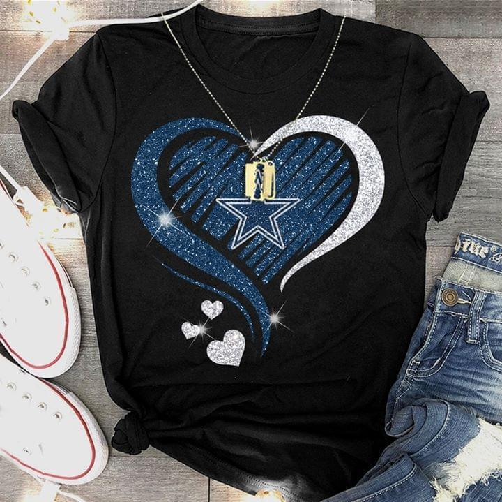 Dallas Cowboys Glitter Heart Shape T Shirt - Custom Graphic Tee - Christmas Gift Idea T-Shirt