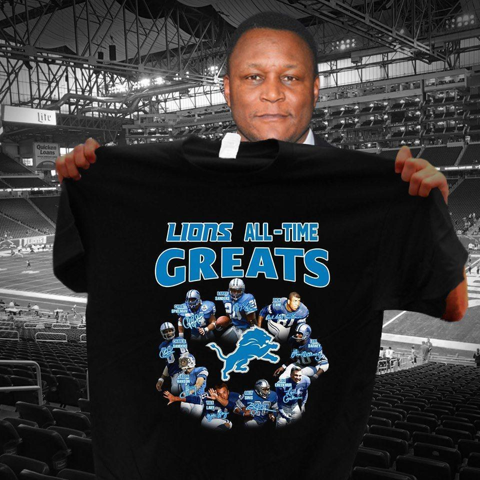 Detroit Lions All Time Greats Coach And Players Signatures - Gift for Fans T-Shirt