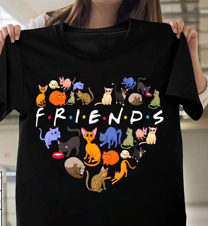 Friends Cute Cats Heart Shape For Cat Lovers T Shirt - Custom Graphic Tee - Christmas Gift Idea T-Shirt