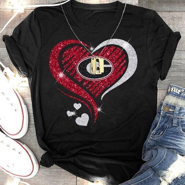 Georgia Bulldogs Glitter Heart Shape T Shirt - Custom Graphic Tee - Christmas Gift Idea T-Shirt