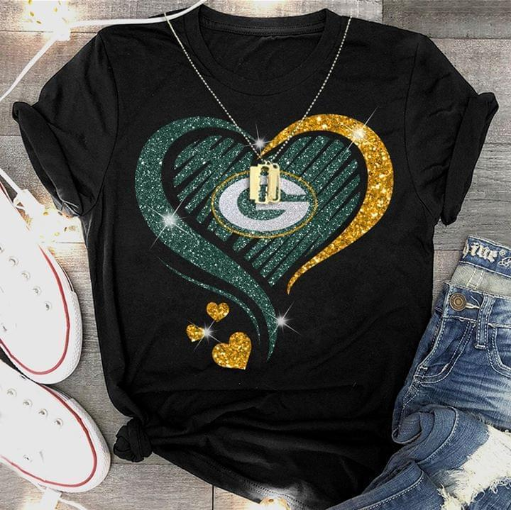 Green Glitter Green Bay Packers Heart Shaped - Gift for Fans T-Shirt