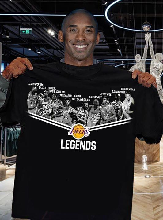 Los Angeles Lakers Legends All Players Signatures - Gift for Fans T-Shirt