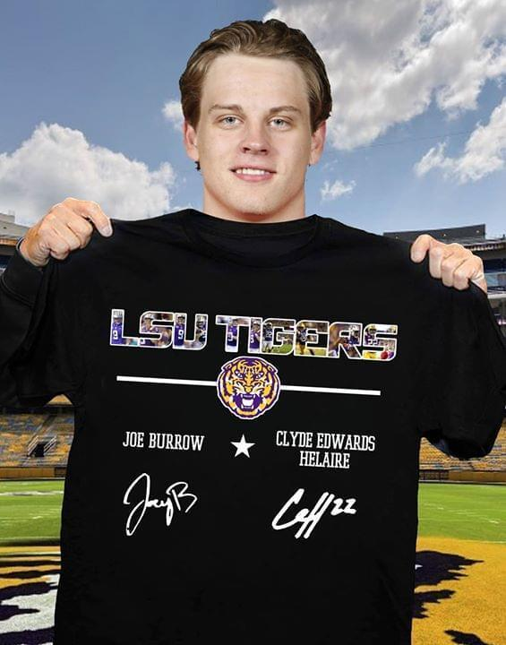 Lsu Tigers Joe Burrow Clyde Edwards Helaire Signed - Gift for Fans T-Shirt