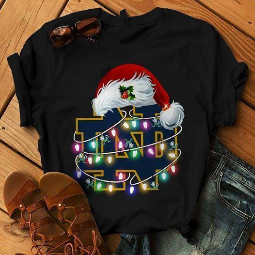 Notre Dame Fighting Irish Santa Claus Hat Christmas - Gift for Fans T-Shirt