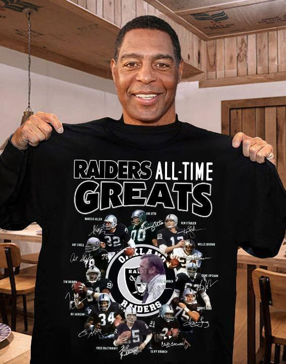 Oakland Raiders All Time Greats Coach Players Signatures - Gift for Fans T-Shirt
