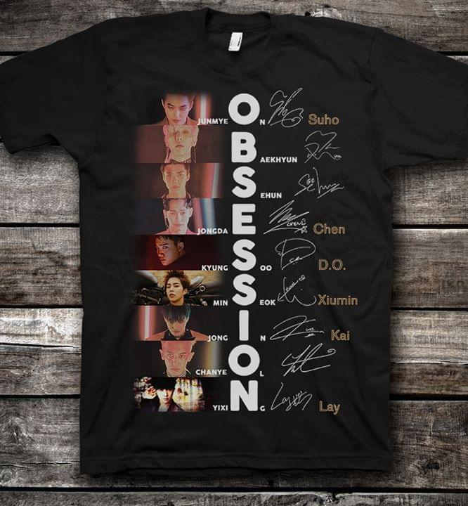 Obsession Exo Members Signatures T Shirt - Custom Graphic Tee - Christmas Gift Idea T-Shirt