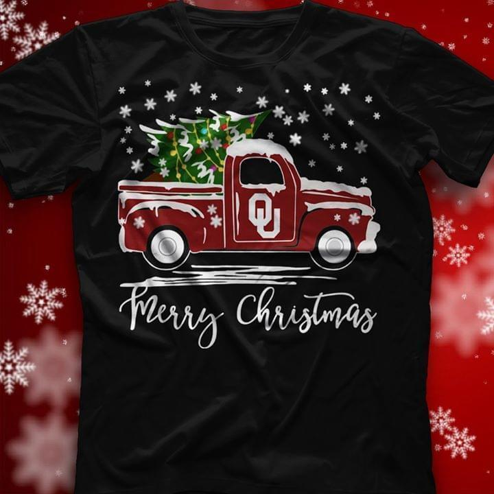 Oklahoma Sooners Merry Christmas Christmas Tree Truck - Gift for Fans T-Shirt