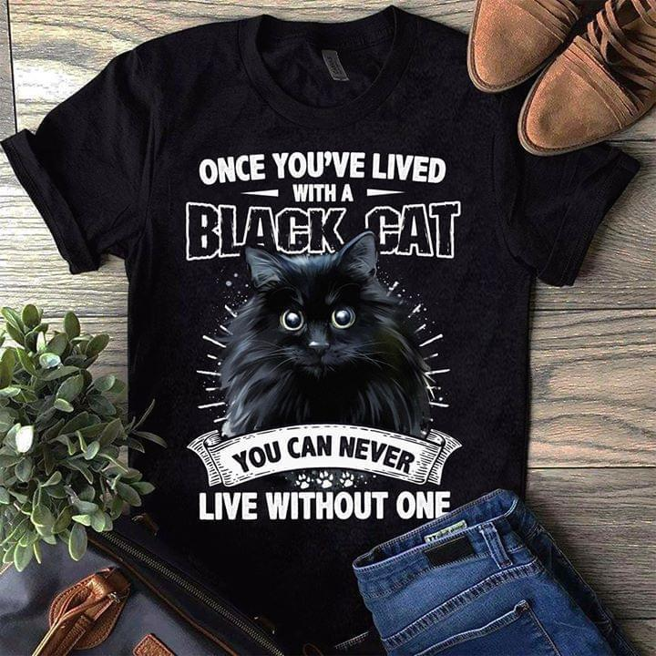 Once Youve Lived With A Black Cat You Can Never Live Without One Exotic Cat For Cat Lovers T Shirt - Custom Graphic Tee - Christmas Gift Idea T-Shirt