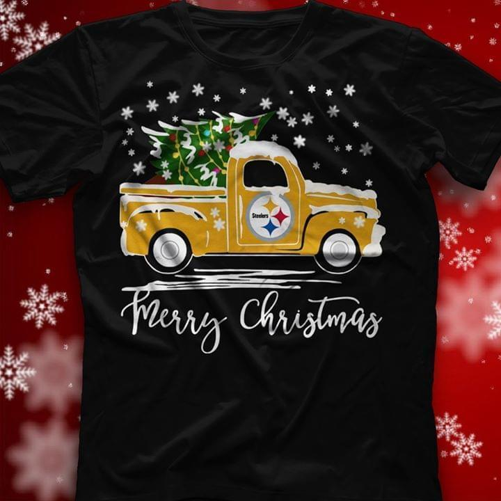Pittsburgh Steelers Truck Merry Christmas - Gift for Fans T-Shirt