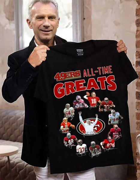 San Francisco 49Ers All Time Greats Coach And Players Signatures T Shirt - Custom Graphic Tee - Christmas Gift Idea T-Shirt