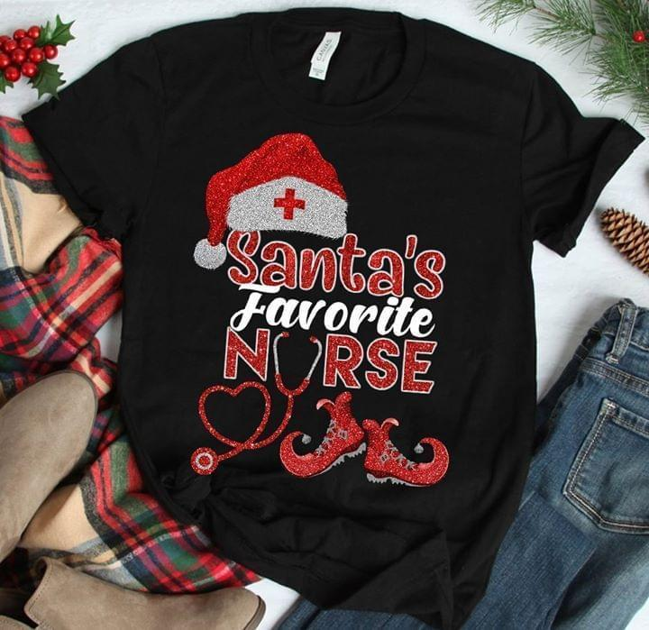 Santa'S Favorite Nurse Christmas Glitter Pattern T Shirt - Custom Graphic Tee - Christmas Gift Idea T-Shirt
