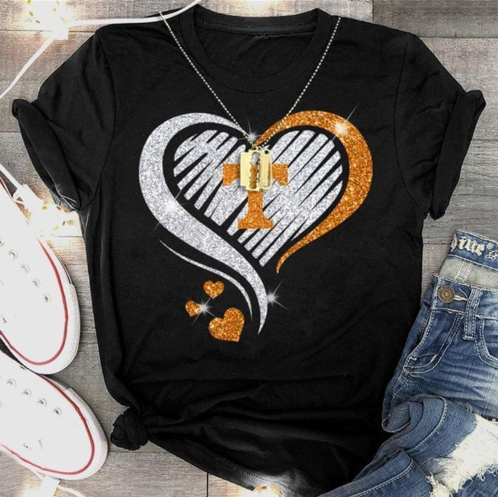 Tennessee Volunteers Glitter Heart Shape T Shirt - Custom Graphic Tee - Christmas Gift Idea T-Shirt