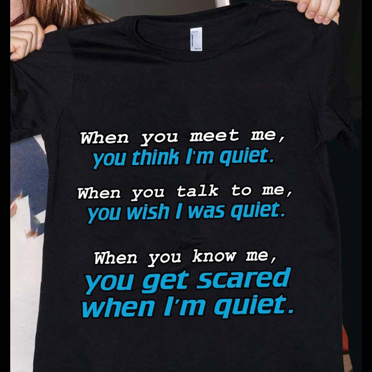 Wen Meet Me You Think Im Quite When Talk To Me You Wish I Was Quite When Know Me You Get Scared When Im Quite - Gift for Fans T-Shirt