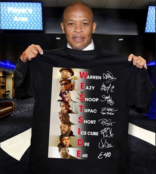 Westside All Rappers Warren Eazy Snoop Dog Tupac Short Ice Cube Dre E 40 Name Puzzle - Gift for Fans T-Shirt