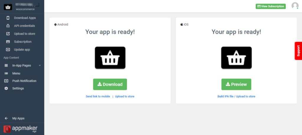 Tmstore alternative, Appmaker's app managing dashboard