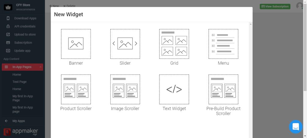 Adding new widget to TMStore alternative= Appmaker