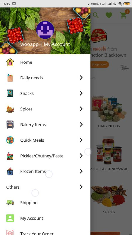 Screenshot showing features available on Navigation menu