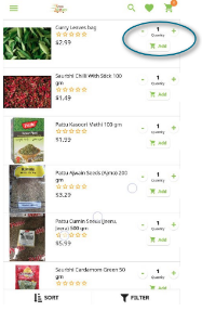 Screenshot of product page in a grocery app