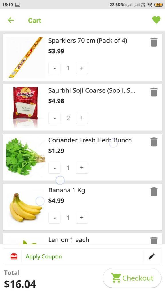 Screenshot of shopping cart in an app