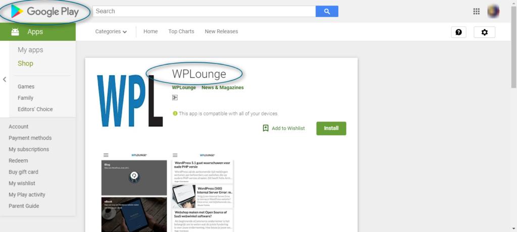 WPLounge WordPress app in Google PLayStore
