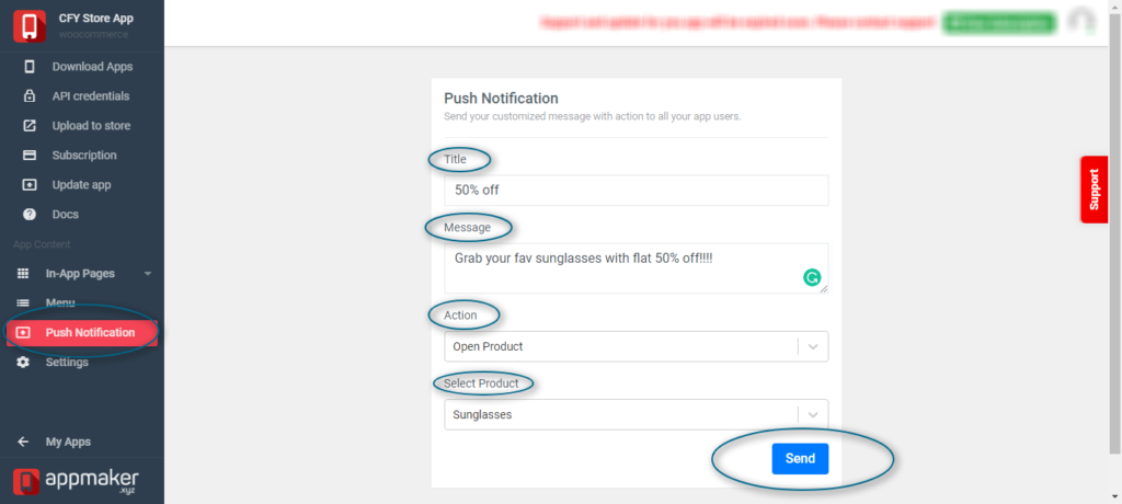 send push notification for eCommerce android app