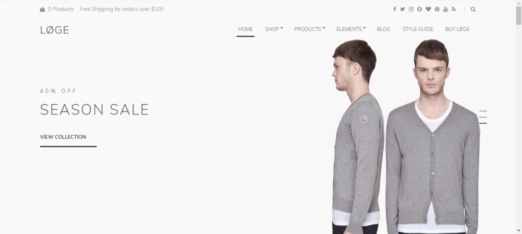 Loge top woocommerce theme