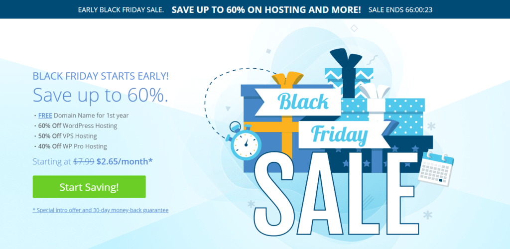 An offer page with 60% Off on Bluehost website