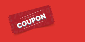 Banner image showing a app coupon