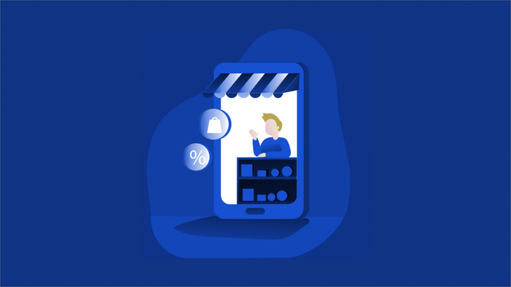 An illustrated version of an e-store or m-commerce store.