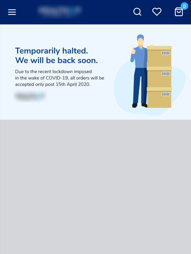 Image shows that your services are temporarily halted