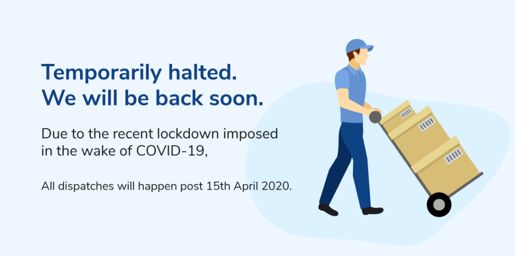 Image shows that your services are temporarily halted due to COVID-19