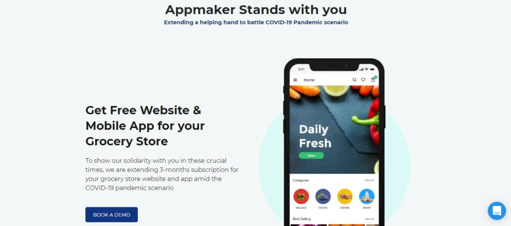 Grocery app builder website image