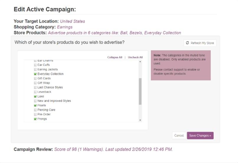 Editing campaigns