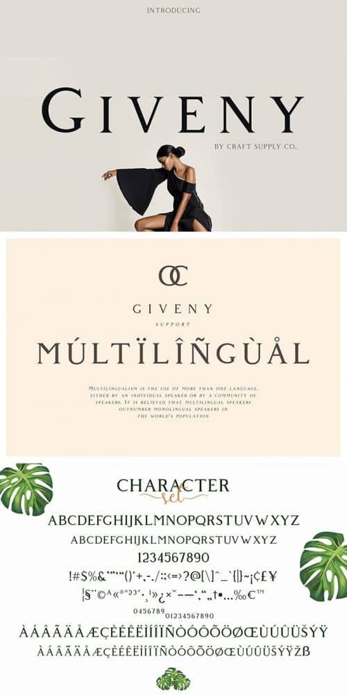 Download the Giveny Serif font for free.