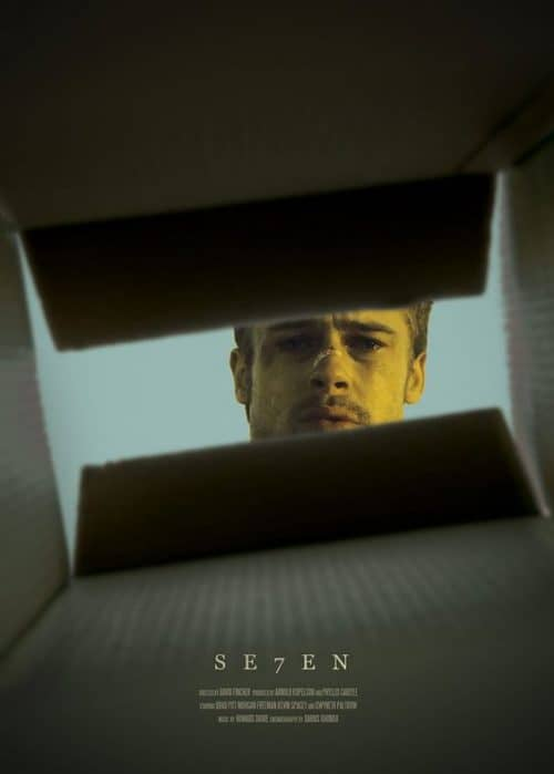 Brad Pitt Kevin Spacy Seven Se7en Key Art Movie Poster