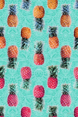 Patterns | From Pineapple to Pink tropical doodle pattern on mint by-