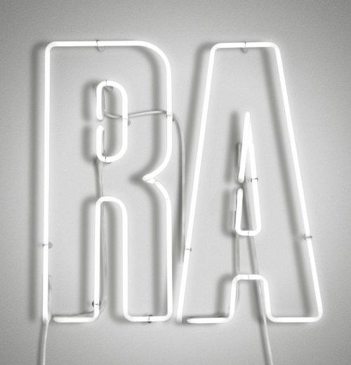 Neon   Neon Type – RA Now neon signage by Pentagram