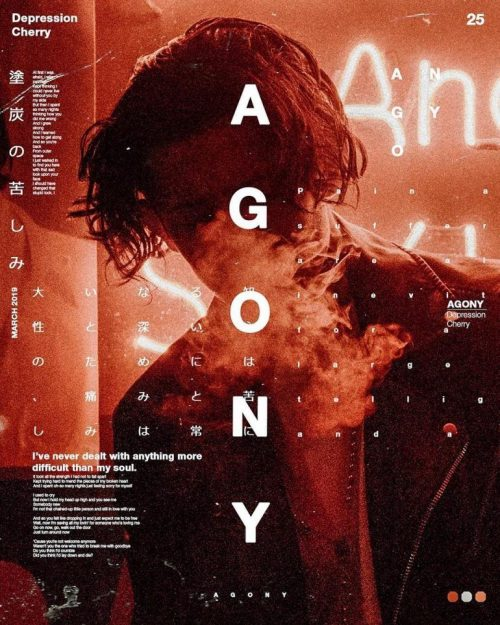 Graphic Design | Poster | Agony – Depression cherry on