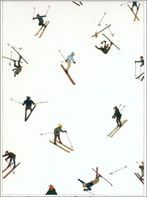 Patterns | Alpine Watercolor Skis by YanNascimbene from yannascimbene