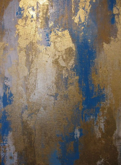 Textures   Abstract Blue Gold White Painting 24 x 24 by ArtByCorneliaP
