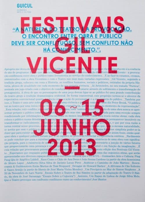 Graphic Design   Poster   Gil Vicente 2013 Handout
