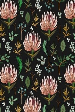Patterns | Floral Study Dark by Holli Zollinger Pink and Yellow Bota