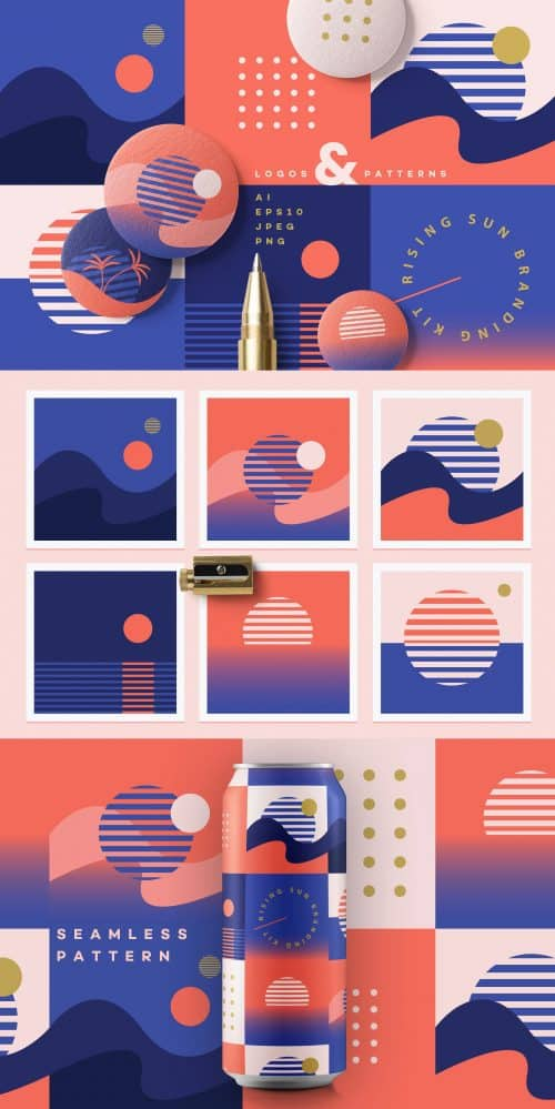 Rising Sun Branding Kit by Polar Vector on Behance