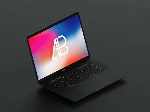 Asset | Isometric Matte Black 2017 Macbook Pro Mockup