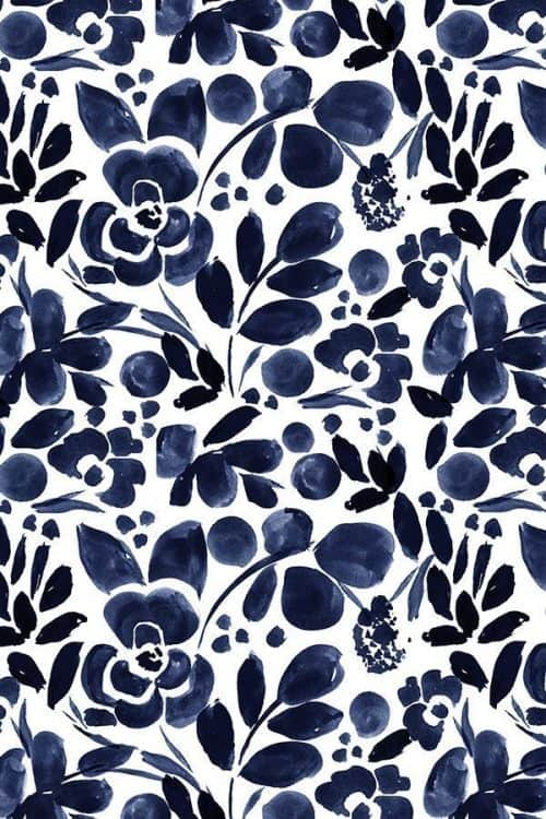 Patterns | Navy Floral by crystal walen Beautiful Hand Painted Watercolor