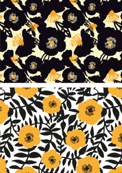 Patterns | Black and Gold Floral Print